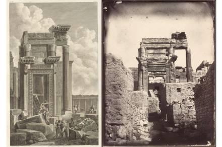 Left: Temple of Bel, cella entrance, Jean-Baptiste Réville and Pierre Gabriel Berthault after Louis-François Cassas. Etching. Platemark: 18 x 11.4 in. (46 x 29 cm). From Voyage pittoresque de la Syrie, de la Phoénicie, de la Palestine, et de la Basse Egypte (Paris, ca. 1799), vol. 1, pl. 46. The Getty Research Institute. Right: Temple of Bel, cella entrance, Louis Vignes, 1864. Albumen print. 8.8 x 11.4 in. (22.5 x 29 cm). The Getty Research Institute.