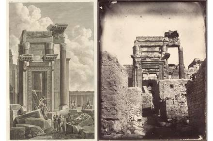 Left: Temple of Bel, cella entrance, Jean-Baptiste Réville and Pierre Gabriel Berthault after Louis-François Cassas. Etching. Platemark: 18 x 11.4 in. (46 x 29 cm). From Voyage pittoresque de la Syrie, de la Phoénicie, de la Palestine, et de la Basse Egypte (Paris, ca. 1799), vol. 1, pl. 46. The Getty Research Institute. Right: Temple of Bel, cella entrance, Louis Vignes, 1864. Albumen print. 8.8 x 11.4 in. (22.5 x 29 cm). The Getty Research Institute.