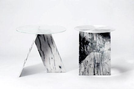 """""""A Table series"""": a minimal design in search of simplicity. The essence of design is supposed to be simple and understandable. But as a designer, I aimed to enrich the viewers' experience and inspire their different perspectives. Designer: Lien Chin-Ho; Manufacturer: Chia-Tai Marble Co., Ltd.; material: Taiwanese white marble, glass."""