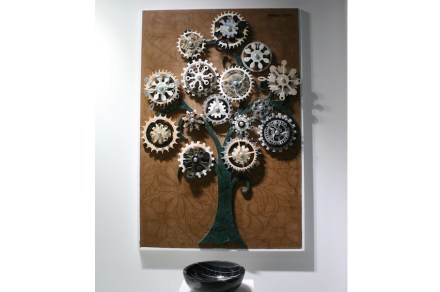 """Artist Mahmut Kockan at the booth of <a href=""""http://www.naturstone.net/""""target=""""_blank"""">Natur Stone</a>."""