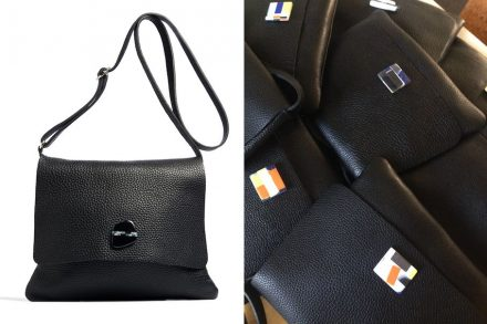 Franco Eccel: leather bags with engineered stone clip.