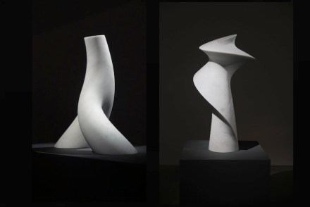 """Cynthia Sah: (left) """"Branch In Motion"""", Carrara white marble, 51 x 30 x 55 cm, 2016, Photo: Double Square Gallery; (right) """"Spinning"""", Carrara white marble, 56 x 54 x 107 cm, 2016. Photo: Q. Bertoux"""
