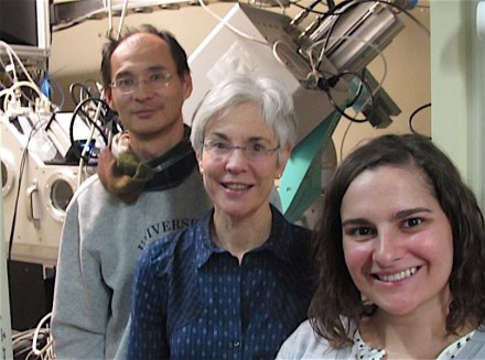 Left to right: Nobumichi Tamura, Marie Jackson and Camelia Stan at the Advanced Light Source, Lawrence Berkeley National Laboratories, January 2017. Tamura and Stan are scientists at the Advanced Light Souce. Photo credit: Marie Jackson