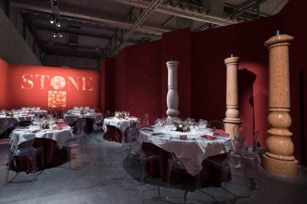 "In Hall 1 of Marmomac, the ""Ristorante d'Autore"" was again a venue dedicated to Italian food and wine interpreted by chefs in a scenic setting with local natural stone. Photo: Luca Morandini / Veronafiere"