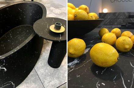 """Showing the marble as a material of beauty: Pibamarmi presented the newest collection """"Desco"""" of designer Vittorio Longheu (we will report in one of our next issues). Photo: Pibamarmi"""