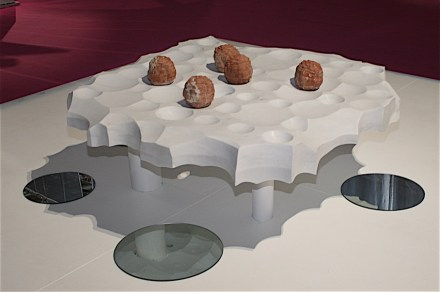 """Ghosts of Future Buildings"". Studio: amid.cero9; company: Helios Automazioni; material: Marmo Bianco. Photo: Peter Becker"