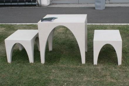 """Sitzbrücke"" (Seating bridge). Designer: Simone Boldrin. Company: M&R di Masuttti & Rusalen, General Marmi. Material: Biancone A74 di Apricena. ""G. D'Annunzio"" University Chieti-Pescara, Department of Architecture, Pescara."