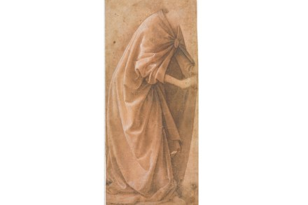 """Drapery study of a standing figure"" by Domenico Ghirlandaio, drawing 1485-90. In Ghirlandaio's workshop Michelangelo studied as a teenager. Uffizi_Florence"