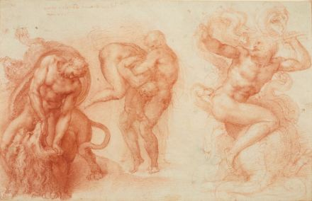 """""""Three Labours of Hercules"""", Michelangelo, 1530–33.  Drawing, red chalk. Royal Collection Trust / © Her Majesty Queen Elizabeth II."""