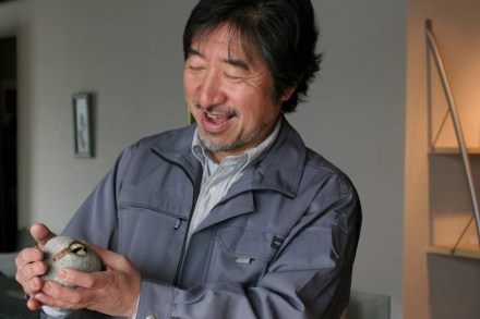 "Hirotoshi Ito and one of the pebbles from ""Pleasure Paradox ""."
