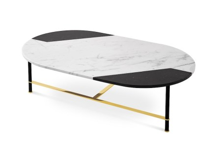 "<a href=""http://www.gallottiradice.it/""target=""_blank"">Gallotti&Radice</a>: coffee table ""Cookies"" with plate in marbles Bianco Statuario and Nero Marquinia."