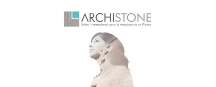Logo of Archistone trade fair.