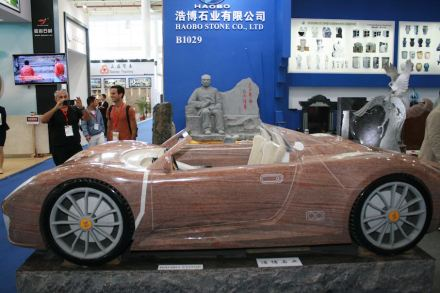 "<a href=""http://www.haobostone.com/""target=""_blank"">Haobostone</a>: Ferrari in stone, in the background Chinese prime minister Li Keqiang."