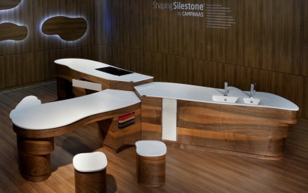 In 2012, Cosentino company had invited Brazilian designers Fernando and Humberto Campana to create a knew kitchen idea using its Silestone. They came up with countertops arranged in form of a Swiss army knife. Photo: Cosentino
