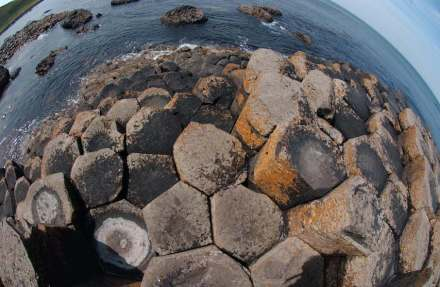 Giant's Causeway, a tourist attraction at the coast of Northern Ireland about 80 km from Belfast.