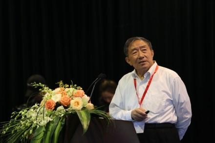 Zou Chuansheng bei seinem Vortrag auf dem World Stone Congress während der Stone Fair in Xiamen 2018.