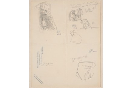 Auguste Rodin, Sketches including figure K from the Parthenon and a metope from the south side of the Parthenon, 20 February 1905. Graphite on paper © Musée Rodin