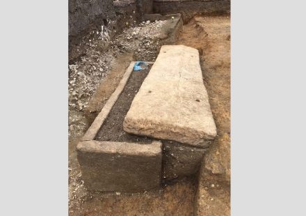 Stone sarcophagus from Harper Road, Southwark. The lid of the coffin was found partly pushed to one side, indicating it might have been disturbed by grave robbers.