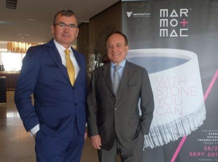 Maurizio Danese (Präsident der Veronafiere, links) and Giovanni Mantovani (Geschäftsführer der Veronafiere, rechts).