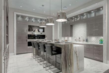 CID-Awards: Design Category, Commercial Stone. Project: Kitchen and Bath Design Showroom. Designer: Empire Kitchen & Bath. Location: Calgary, Alberta, Canada.