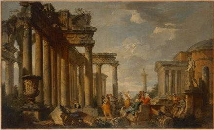 """Giovanni Paolo Panini, """"Sybil speaking amidst Roman Ruins, with the Apollo Belvedere"""", 1740–50. Source: State Hermitage Museum, St Petersburg"""