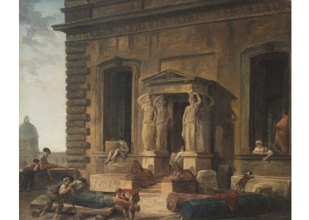 """Hubert Robert, """"Palace Entrance with a Portico and Caryatids"""", 1800. Source: State Hermitage Museum, St Petersburg"""