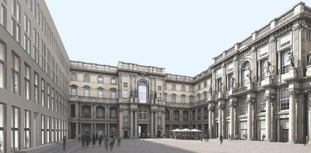 Der Schlüterhof, wie er einmal aussehen soll. Rendering: Stiftung Humboldtforum im Berliner Schloss