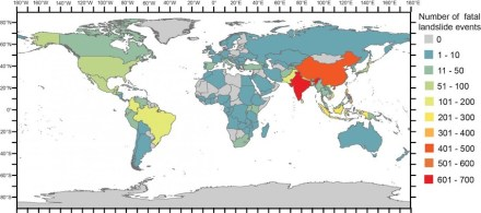 Graphic showing the number of fatal landslide events per country. Source: Froude & Petley, Natural Hazards and Earth System Sciences, 2018