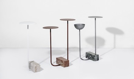 "Side tables ""Adobe"". Design: Guilherme Wentz; company: Granos; quartzites: Arezzo, Green Ocean and Perla Santana."