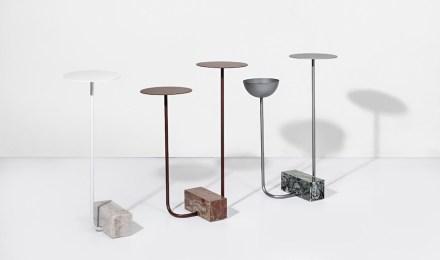 "Side tables ""Adobe"". Design: Guilherme Wentz; company: Granos; quartzites: Arezzo, Green Ocean and Perla Santana."