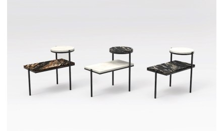 "Side tables ""Petra"". Design: Fernando Jaeger; company: Guidoni; granites Black Fusion and Black Taurus and quartzite Mykonos."