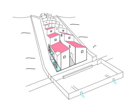 Skizze der Wassermühlen von Barbegal, wie sie im 2. Jahrhundert n. Chr. vermutlich in Betrieb waren. Quelle: Cees Passchier, Mainz