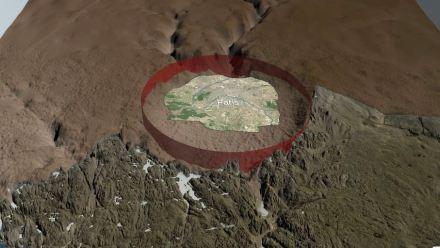 Größenvergleich der Deformation unter dem Eis des Hiawatha-Gletscher.