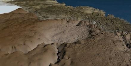 The bedrock topography under the Hiawatha glacier.