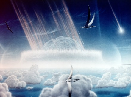"Painting by Donald Davis how Chicxulub meteorit impacted the Earth. Source: NASA / <a href=""https://commons.wikimedia.org/""target=""_blank"">Wikimedia Commons</a>"