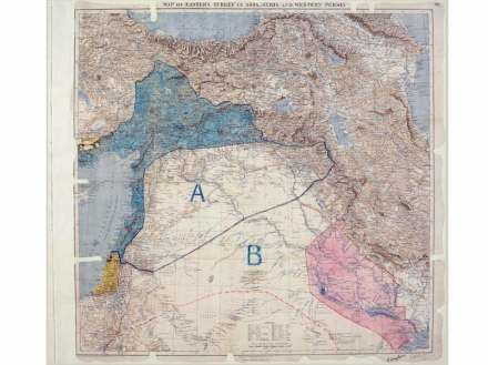 """""""Map of Eastern Turkey in Asia,Syria and Western Persia"""" showing Sykes-Picot line 1910 –1916, London. © The National Archives, UK"""