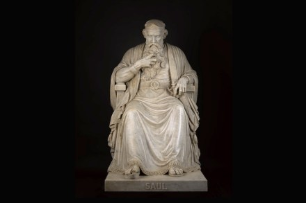"""""""Saul under the Influence of the Evil Spirit"""", William Wetmore Story, modeled 1858–63; carved 1864–65, marble with original marble base in three sections, H. 64 x W. 34 x D. 64 1/2 in; base: H. 34 1/2 x W. 39 1/4 x D. 68 3/4 in., North Carolina Museum of Art."""