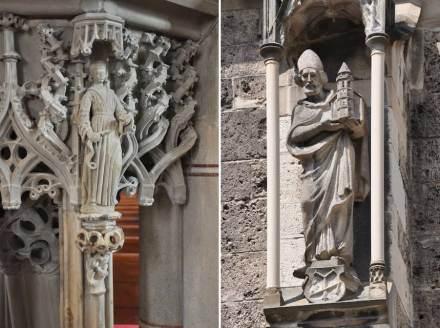 Bad Urach, Amanduskirche: Figuren an der Kanzel (links) und an der Außenfassade (rechts).