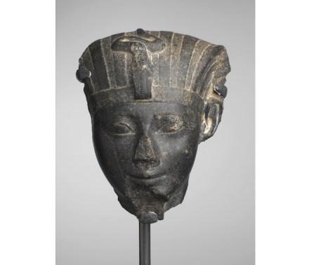 """Hatshepsut, ca. 1478-1458 B.C.E. Granite, 10 1/2 × 8 1/2 × 4 3/4 in., 16.5 lb. (26.7 × 21.6 × 12.1 cm, 7.48kg). Source: <a href=""""https://www.brooklynmuseum.org/""""target=""""_blank"""">Brooklyn Museum</a>."""