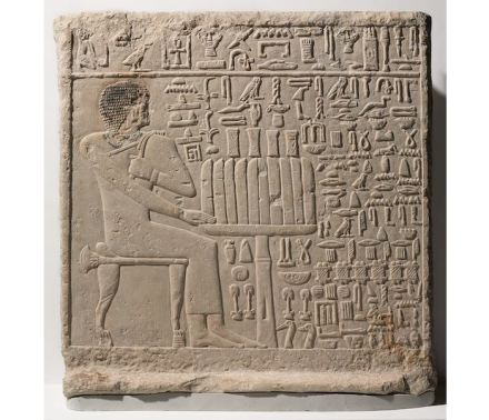 "Stela of Setju, ca. 2500-2350 B.C.E. Limestone, pigment. Perhaps tomb raiders or political enemies damaged his face and right arm in order to disable his source of nourishment and power in the next life, so that he could not seek retribution for their crimes against him. Source: <a href=""https://www.brooklynmuseum.org/""target=""_blank"">Brooklyn Museum</a>."