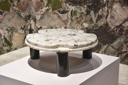 "Coffee table ""Gocce"". Design: Ronald Sasson. Company: Qaurtzblue. Stone: quartzite Harpia Crystal."