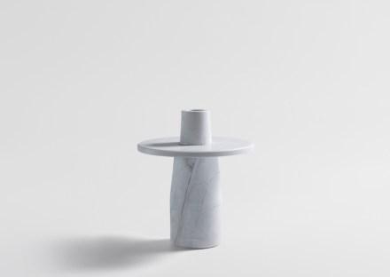 """Artedomus, Dale Hardiman: pedestal and vase """"Semper Vase""""."""