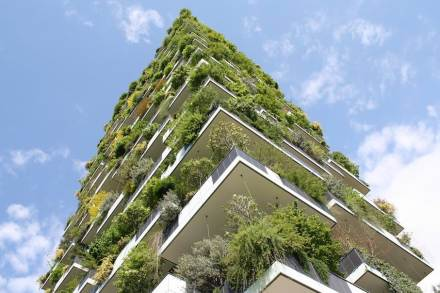 """Bosco Verticale"" (Vertical Forest), a new type of high-rise by architect Stefano Boeri in Milan close to Porta Garibaldi station. Natural stone was not used."