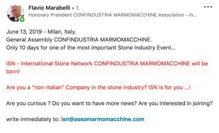 "Screenshot from LinkedIn: Honorary president Flavio Marabelli calls for non-Italian stone companies to check the idea of an ""International Stone Network""."