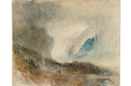 Joseph Mallord William Turner, Storm in the St Gotthard Pass. The First Bridge above Altdorf: Sample Study, ca.1844/45, Bleistift, Aquarell und Tusche auf Papier, 23.9 x 29.7 cm, © Tate, London, 2019.