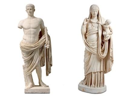 Left: Claudius in heroic nudity. Paris, Louvre. Right: Messalina. Louvre.