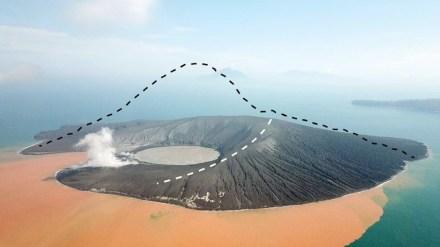 Drohnenaufnahme 2 Wochen nach dem Flankenkollaps. Der ehemals etwa 320 Meter hohe Vulkangipfel ist verschwunden. Quelle: GFZ