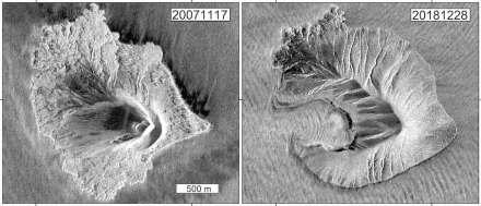 Radaraufnahmen des deutschen TerraSAR-X-Satelliten zeigen die Form des Anak Krakatau vor (links) und nach dem Flankenkollaps (rechts). Source: Datengrundlage TerraSAR-X (DLR), Bildbearbeitung: GFZ
