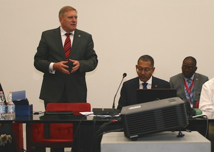 Euroroc General Secretary Gerd Merke (left) welcomes Diamantino Pedro de Azevedo, Minister for Mineral Resources of Angola (second from left).