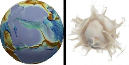 In the image on the left, the modelled fictional planet looks much like the Earth: its surface and mantle move spontaneously, at speeds close to those observed on Earth. The distribution of the plates (some of which are large, while many are small) is also similar, as is the topography: red hues represent shallow regions of the ocean (ridges), while blue indicates the deep seafloor. The deepest blue areas correspond to subduction trenches (where a plate is sinking into the mantle). The continents are shown in translucent white (and therefore appear purplish grey). The image on the right shows warm currents (plumes) rising from the bottom of the mantle. Source: Nicolas Coltice